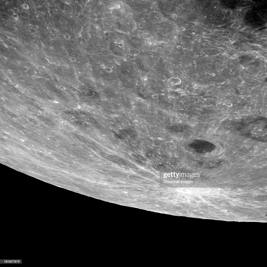 High altitude oblique view of the lunar surface.