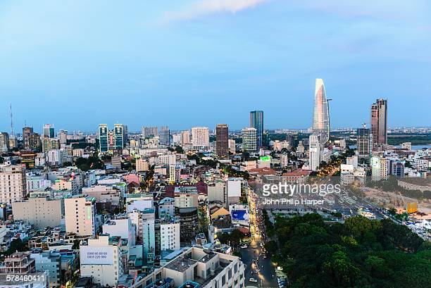 High angle cityscape and skyline at dusk, Ho Chi Minh city, Vietnam