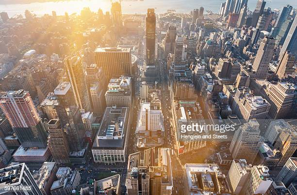 High angle cityscape of mid town Manhattan toward Hudson River, New York, USA