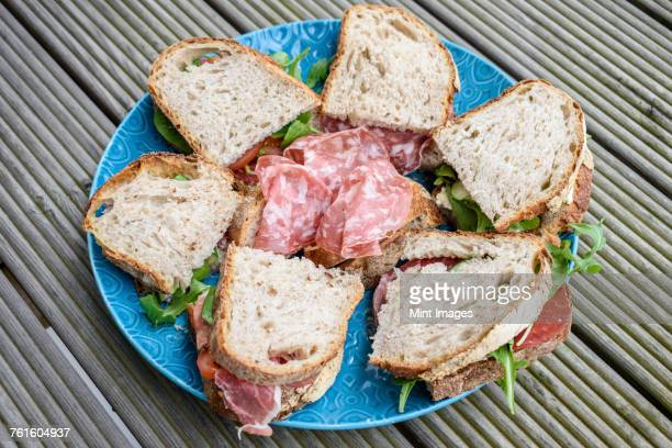 High angle close up of selection of sandwiches with coppa and salami on a blue plate.