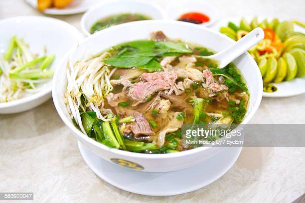 High Angle Close-Up Of Pho In Bowl On Table
