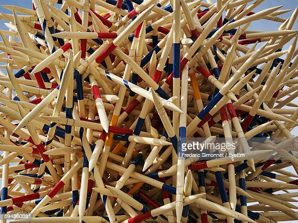 High Angle Close-Up View Of Art From Pick Up Sticks