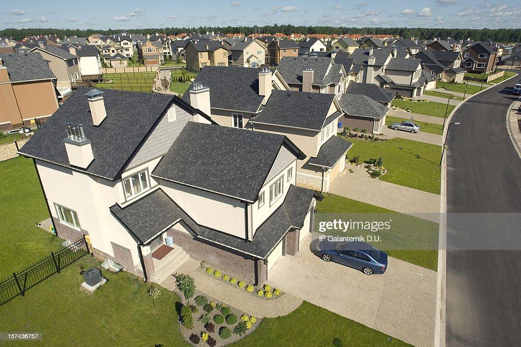 High angle concept drawing of suburban houses