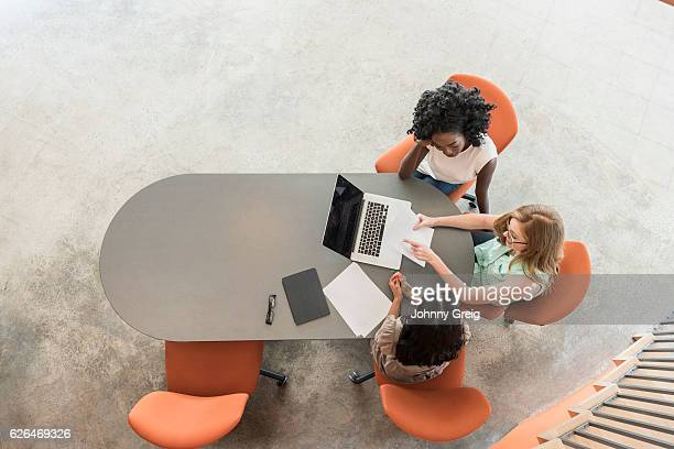 High angle of three businesswomen in meeting with laptop