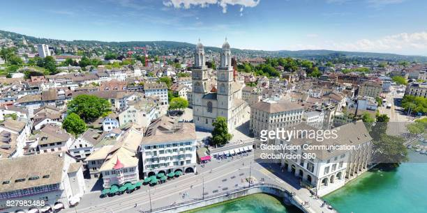 High Angle Panorama of Zurich's Old Town
