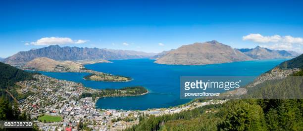 High angle panoramic of Queenstown in the Remarkable Mountains of New Zealand