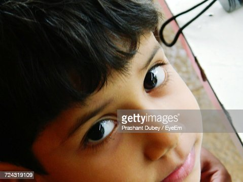 High Angle Portrait Of Boy : Stock Photo