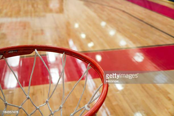 high angle shot of a basketball court from rim