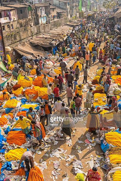 high angle shot of the flower market in Calcutta