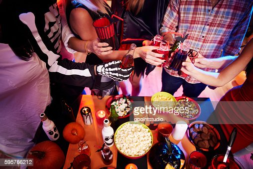 High angle view at halloween table : Stock Photo