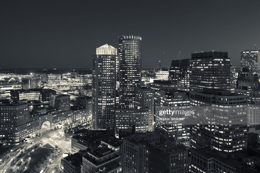 High angle view from Marriott Customs House Tower Hotel, Financial District, Boston, Massachusetts, USA