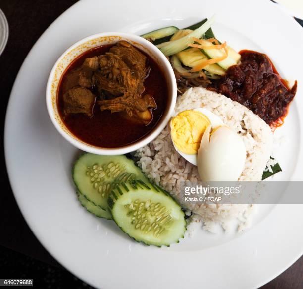 High angle view Malaysian food