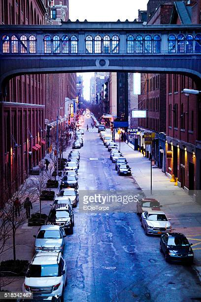 High angle view, New York street from Highline