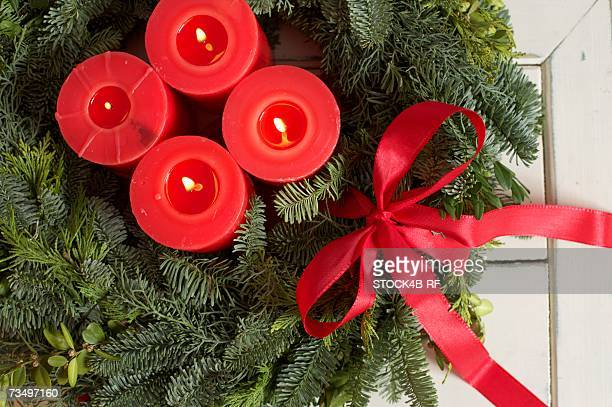 High angle view of a advent wreath