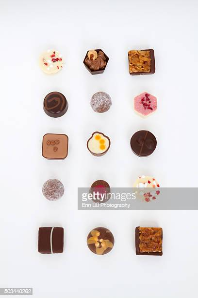 High angle view of a assorted chocolates