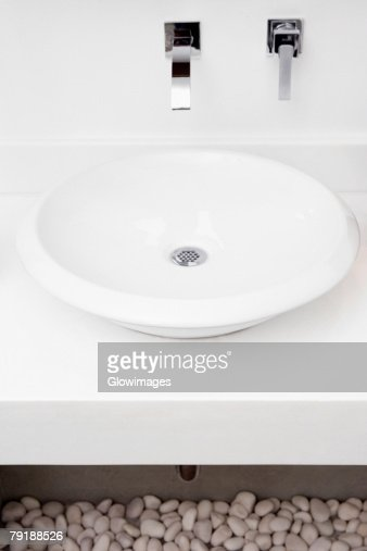 High angle view of a bathroom sink : Stock Photo
