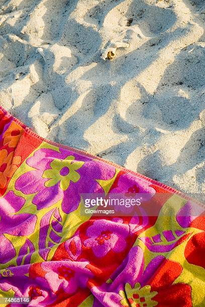 High angle view of a beach towel