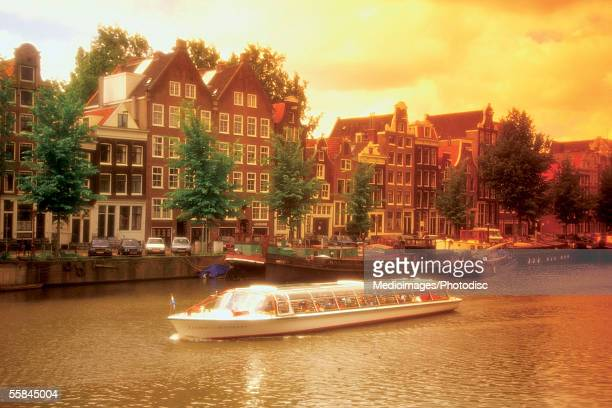 High angle view of a boat in a canal, Amsterdam, Netherlands