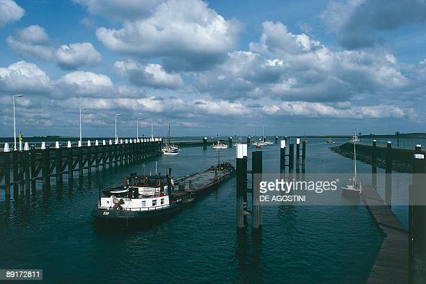 High angle view of a boat in a Sluice Goes Zeeland Netherlands
