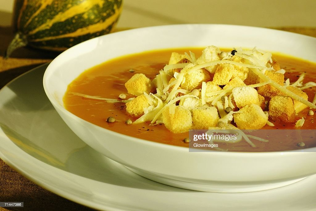High angle view of a bowl of soup : Stock Photo