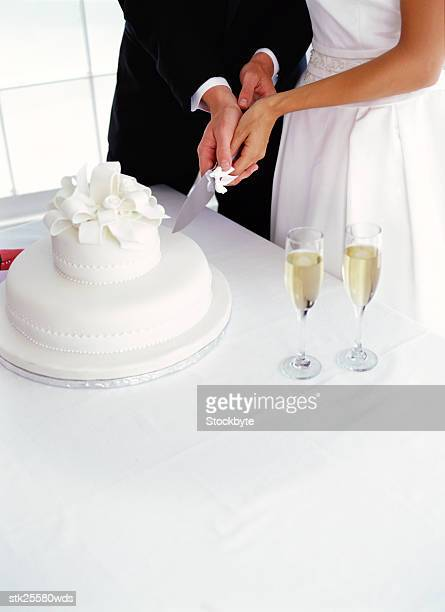 high angle view of a bride and groom cutting the wedding cake