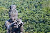 High angle view of a Buddhist statue, Tian Tan Buddha, Po Lin Monastery, Ngong Ping, Lantau, Hong Kong, China