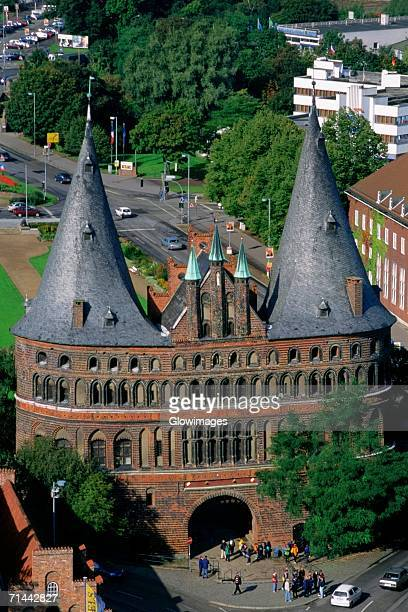 High angle view of a building, Holsten Gate, Lubeck, Schleswig-Holstein, Germany
