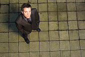 High angle view of a businessman looking up
