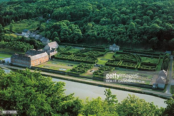 High angle view of a castle Freyr Castle and Gardens Meuse River Wallonia Hastiere Namur Belgium