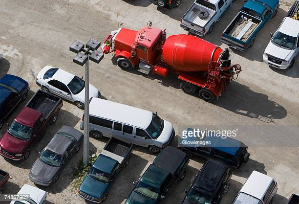 High angle view of a cement truck
