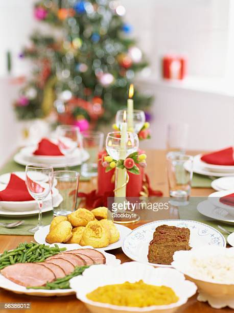 high angle view of a christmas dinner on a table