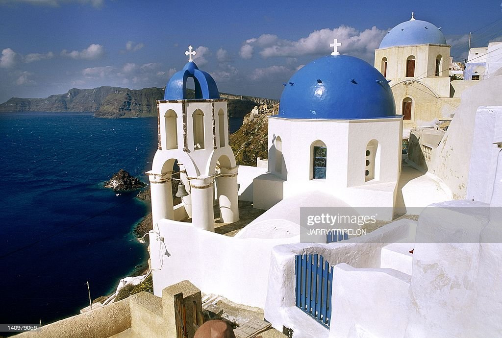 High angle view of a church in a town, Santorini, Cyclades Islands, Southern Aegean, Greece.