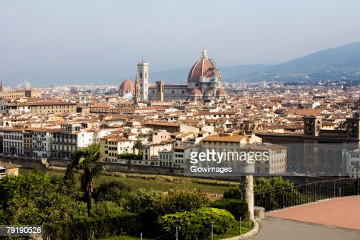 High angle view of a city, Florence, Tuscany, Italy : Stock Photo