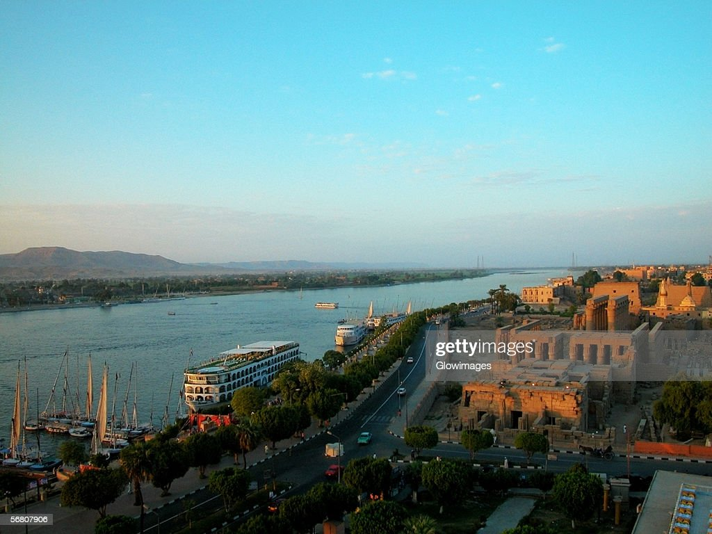 High Angle View Of A City On The Banks Of A River Nile ...