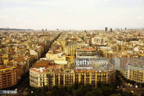 High angle view of a cityscape, Barcelona, Spain : Foto de stock