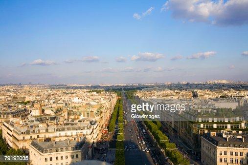 High angle view of a cityscape, Paris, France : Foto de stock
