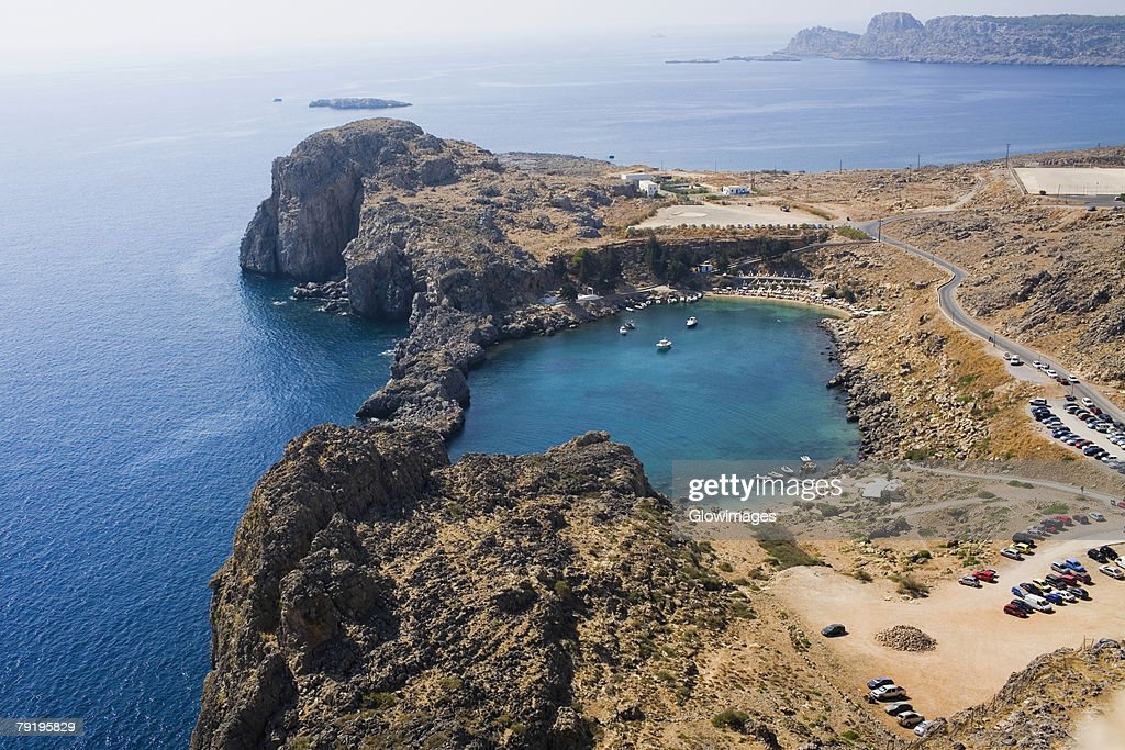 High angle view of a coast, Lindos, Rhodes, Dodecanese Islands, Greece