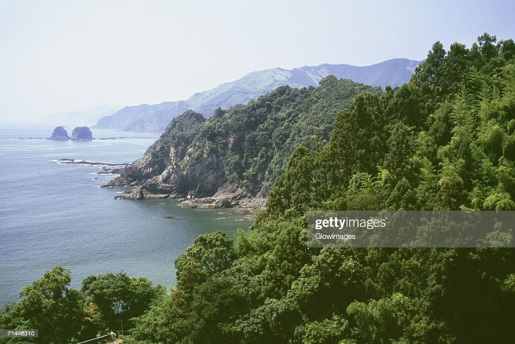 High angle view of a coastline, Kochi, Shikoku, Japan