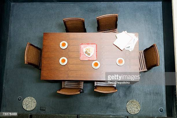 High angle view of a conference table