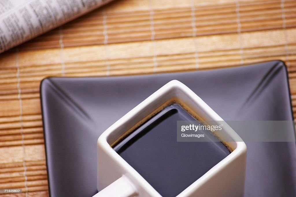 High angle view of a cup of black coffee : Stock Photo
