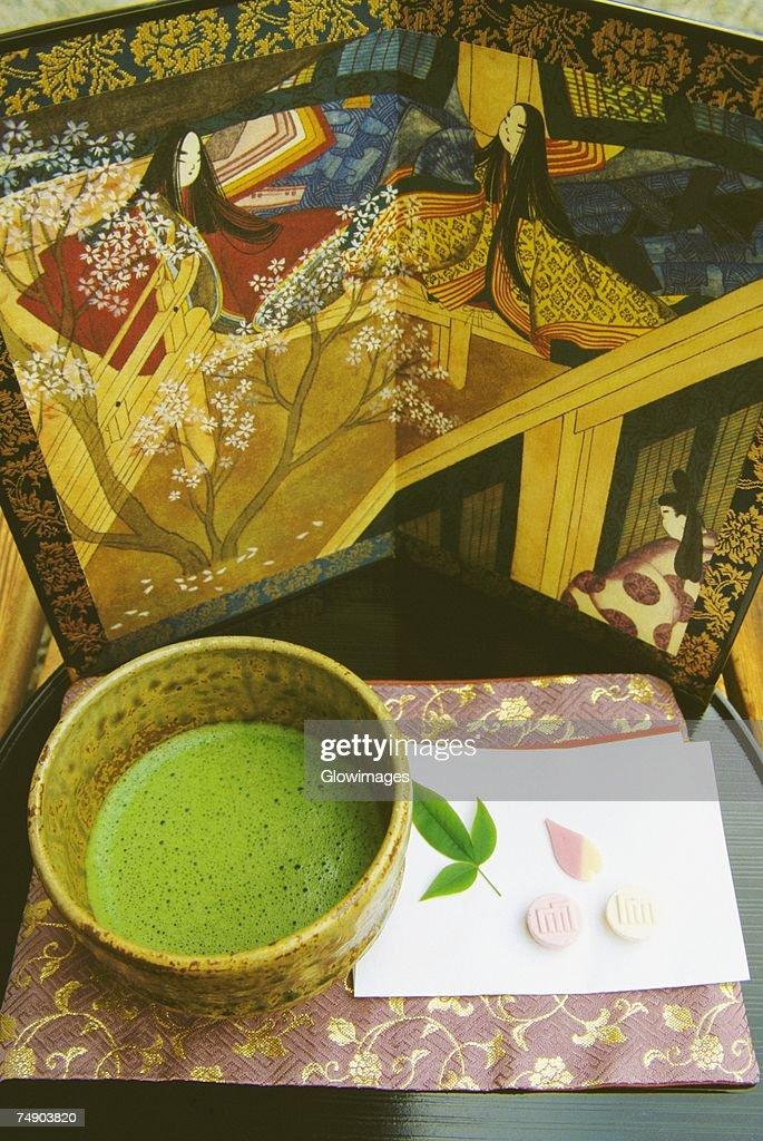 High angle view of a cup of maccha tea, Genji museum, Uji, Japan : Stock Photo