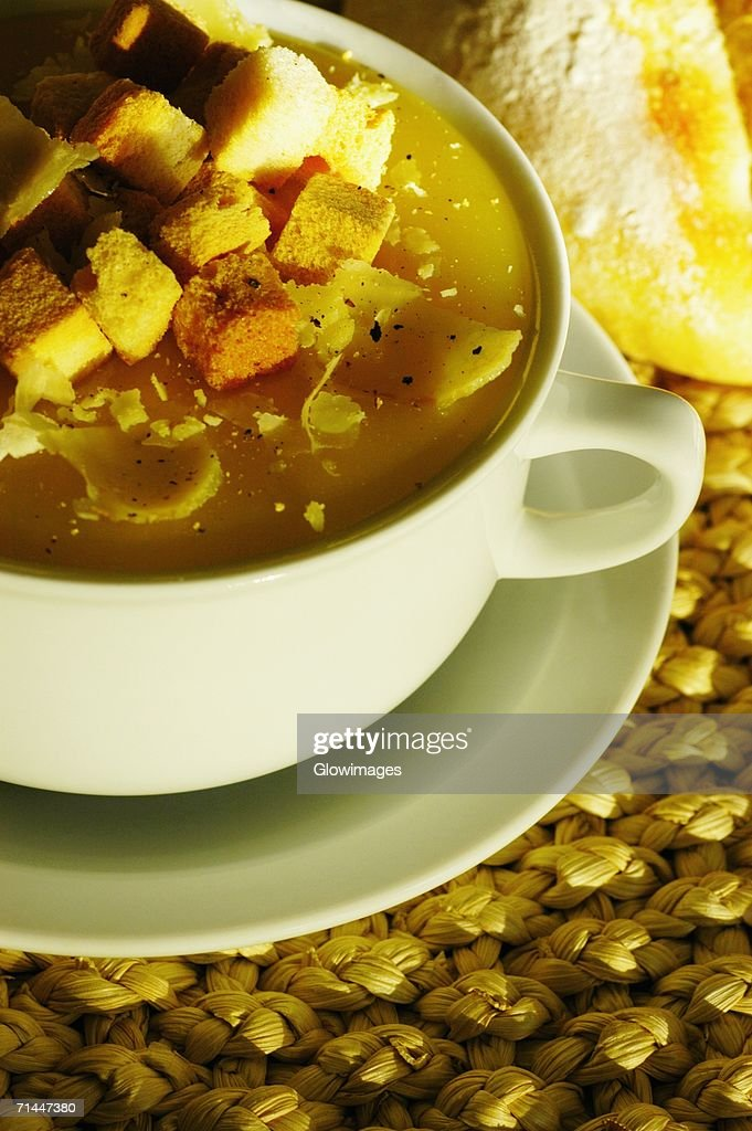 High angle view of a cup of soup : Stock Photo