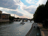 High angle view of a ferry in a river, Seine River, Paris, France