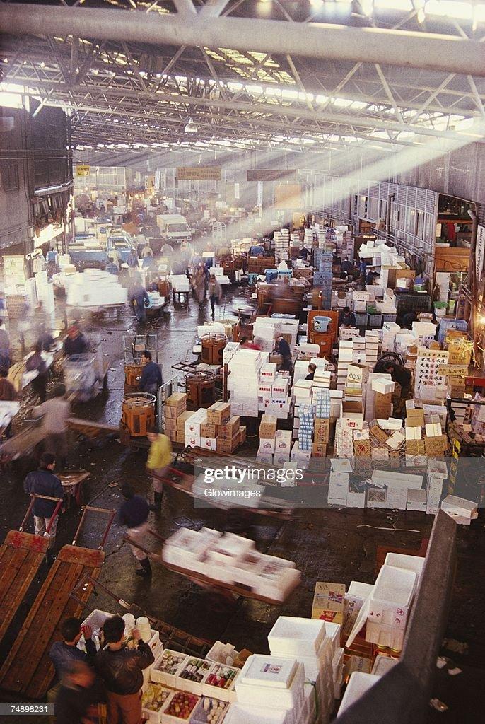High angle view of a fish market, Tsukiji Fish Market, Tsukiji, Tokyo Prefecture, Japan