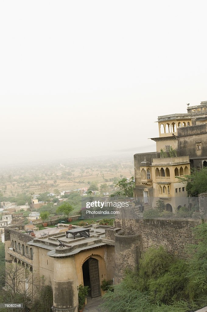 'High angle view of a fortress, Neemrana Fort, Neemrana, Alwar, Rajasthan, India'