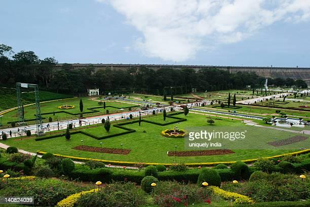High angle view of a garden, Brindavan Gardens, Mysore, Karnataka, India