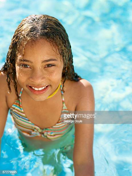 High angle view of a girl in a swimming pool