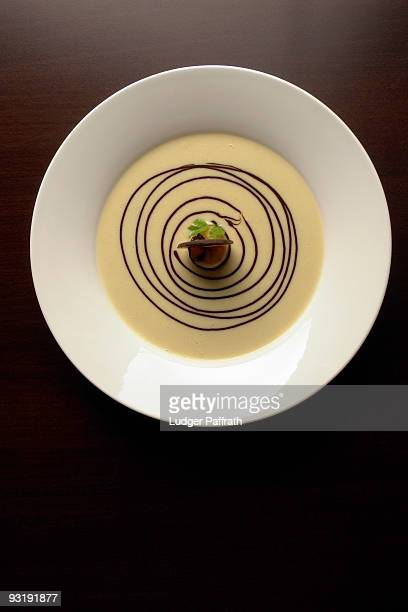 High angle view of a gourmet dessert