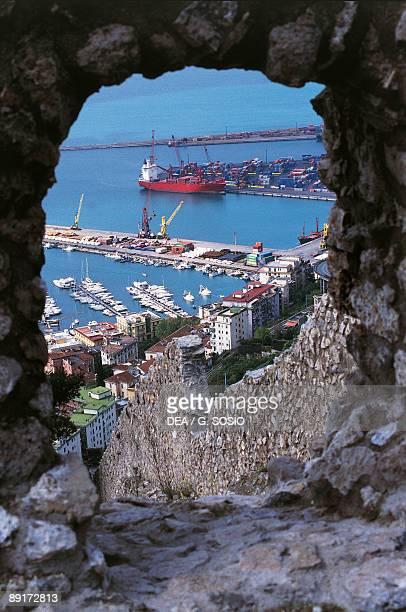 High angle view of a harbor Salerno Campania Italy