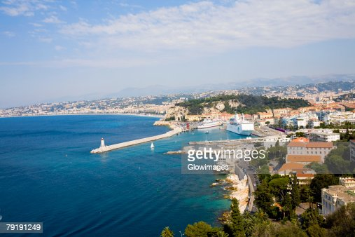 High angle view of a jetty in the sea, Nice, France : Foto de stock